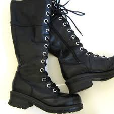 womens black knee high boots size 11 shop lace up boots for on wanelo