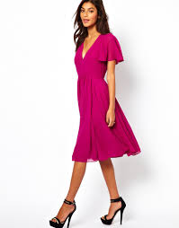 asos midi frill sleeve dress in pink lyst