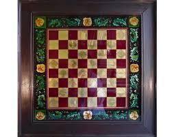 Glass Chess Boards Heraldic Glass Chess Board 19th Century Luke Honey Decorative