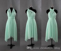 mint green chiffon short bridesmaid convertible dresses 2016 one