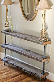diy reclaimed wood console table the reedy review shelving