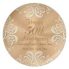 personalized anniversary plates golden 50 wedding anniversary plates personalized zazzle