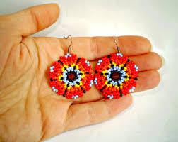 Native American Beaded Earrings Huichol Huichol Earrings Etsy