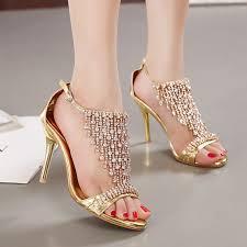 Rhinestone Sandal Heels 2016 New Design Ladies Stilettos High Heels Women Shoes Pumps