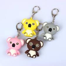 online shop cartoon dolls koala bear led sound light keychain