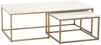 gold nesting coffee table carrera brushed gold and white nesting coffee table from orient