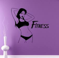 high quality gym design buy cheap lots from gym healthy lifestyle fitness girl wall decal workout vinyl sticker home interior art murals housewares