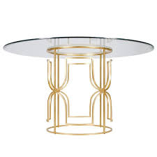 gold and glass table away jennifer gold leaf dining table i layla grayce
