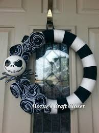 Halloween Wreathes Jack Skellington Wreath Nightmare Before Christmas Wreath Black