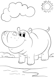 mammals coloring pages cute cartoon hippo coloring page free printable coloring pages