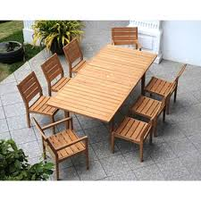 Madison Outdoor Furniture by Madison Collection Extendable Teak Wood 9 Piece Dining Set Sam U0027s