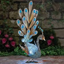 solar peacock metal sculpture beautiful garden sculp http