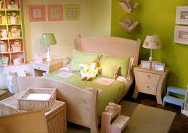 Girls Bedroom Table Lamps White Green Toddler Room Wall With White Wooden Bed And Green