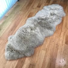 light grey sheepskin rug double