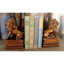 lion bookends 5 in x 8 in brown lion bookends 36421 the home depot