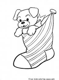 print puppy christmas stocking coloring pages kidsfree