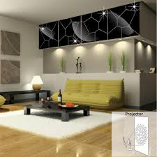 Living Room Mirror by Mirror Cracks Backdrop Paste Geometry Puzzle Three Dimensional