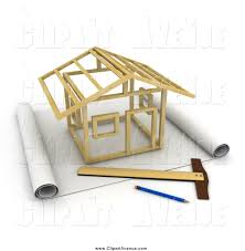 Blue Prints House by Avenue Clipart Of A 3d Stick House Being Constructed On Blueprints