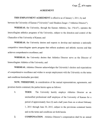 kansas athletics coaches and administrators contracts and