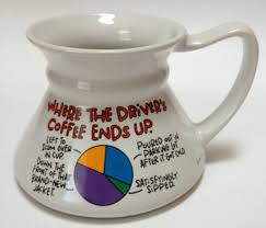 funny odd shaped cup mug where the driver u0027s coffee ends up graph