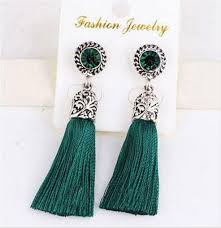 thread earrings ethnic bohemian retro silver tassels silk thread tassel