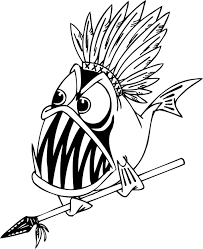 coloring pages of a piranha fish holding a spear for preschoolers