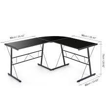 bureau noir verre bureau d angle en verre trempé noir interougehome