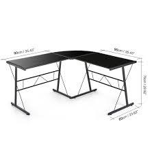 bureau d angle verre bureau d angle en verre trempé noir interougehome