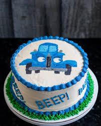 little blue truck smash cake buttercream transfer tutorial
