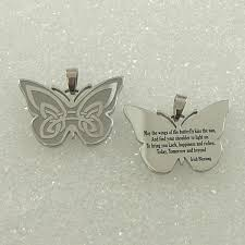 stainless steel celtic butterfly prayer pendant with 20 chain