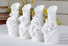 feather flower flower white ceramics vases decoratives flower vase