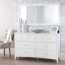 White Ready Assembled Bedroom Furniture Edward Hopper White 7 Drawer Chest Large Chest Of Drawers With