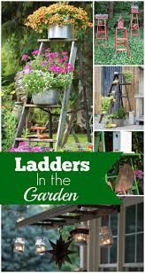 herb planter diy old ladders in the garden hanging ladder wall shelf home decor