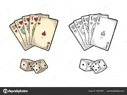 cards and two white dice vintage engraving stock