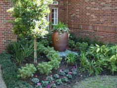 driveway planter circular drive landscaping garden design classic