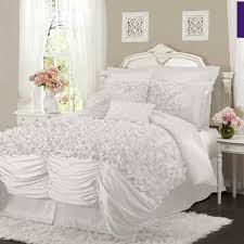 Ruffle Bed Set Shabby Chic And Ruffled White Bedspread And Comforters With White