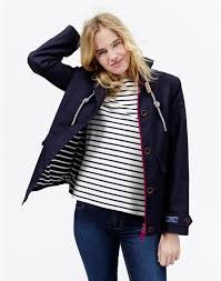 marine navy coast womens waterproof hooded jacket joules uk