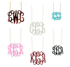 acrylic monogram necklace floating acrylic monogram necklace many colors
