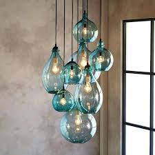 Sea Glass Chandelier Sea Glass Mini Pendant Lights Green Lamp Light Lighting Blue