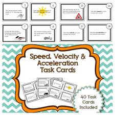 speed velocity and acceleration task cards physics pinterest