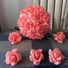 Flowers For Crafts - coral wedding flowers coral foam rose heads 100 flowers for crafts