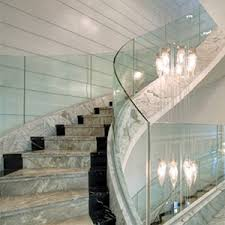 Handrail Manufacturer 10mm Clear Curved Tempered Glass Railing 10mm Toughened Frameless