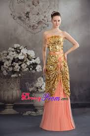 paillette and flowers accent prom celebrity dress in peach