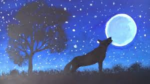 moonlight watercolor painting wolf how to draw wolf moonlight scene demonstration