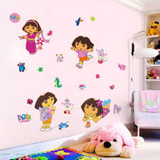 compare prices on murals for girls bedroom online shopping buy cartoon dora wall stickers for kids girls bedroom wall sticker diy decor mural home decal decorative