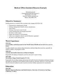 Healthcare Resume Objective Examples Medical Assistant Job Description Sample Receptionist Resume