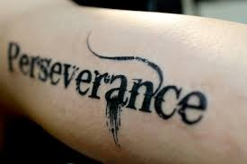 perseverance text bicep tattoo worlds style