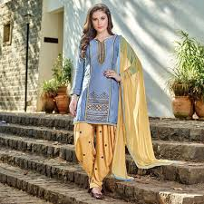 buy blue yellow party wear designer patiala suit for womens