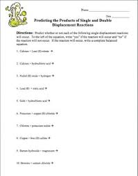the products of single and double displacement reactions