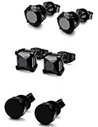 mens black earrings 3 up earrings jewelry clothing shoes